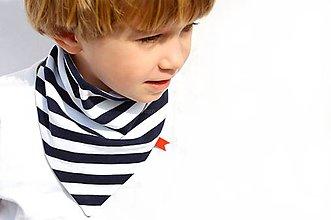 Detské doplnky - Bavlnená šatka prúžok navy - 6557397_