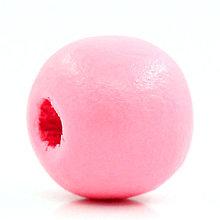 Korálky - Drevené korálky rúžové 10mm (balíček 25ks) - 6555653_