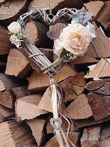 Dekorácie - Vintage srdce s marhuľkovými kvietkami - 6557666_