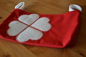 Textil - Organizér, príručná taška na kočík 4 srdcia alebo štvorlístok - 6559864_