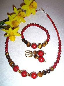Sady šperkov - koral a tigrie oko súprava - 6558685_