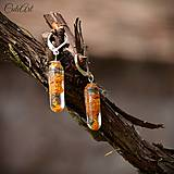 Náušnice - Zlato-oranžové - náušnice - 6560336_