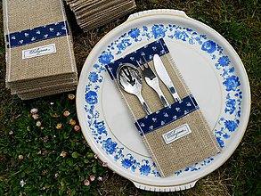 Úžitkový textil - Folk vrecko na príbor s modrotlačou a textom - 6559755_