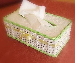 Košíky - košík - krabička na vreckovky jarná zelená - 6559479_