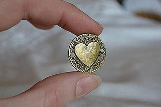 Komponenty - Medzikus srdce bronz, 23mm, 0.20€/ks - 6558670_