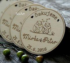 Darčeky pre svadobčanov - Svadobné magnetky Koliesko sovičky - 6562459_