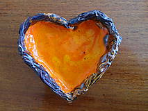 Nádoby - Andreas: Keramická miska Srdce oranžové - 6564141_