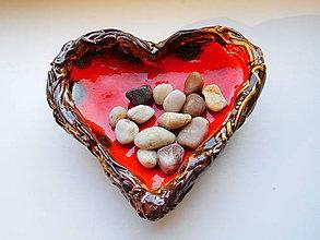 Nádoby - Andreas: Keramická miska Srdce červené - 6564107_