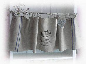 Úžitkový textil - Lněná záclonka, závěs PARIS...150x40cm - 6565057_