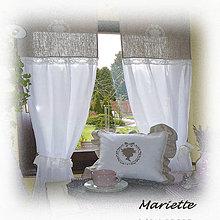 Úžitkový textil - Lněné záclonky v romantickém stylu 48x180cm - 6565666_