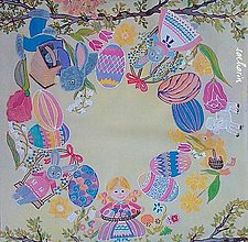 Úžitkový textil - Maľované hodvábne veľkonočné prestieranie - 6565293_