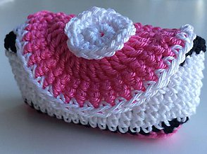 Peňaženky - mini peňaženka 17 ružovo-čierno-biela - 6563959_