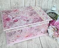 Krabičky - Svadobná Shabby truhlica - 6564639_