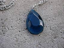 Náhrdelníky - Živicová  slza farebná (Modrá kryštálová kvapka - náhrdelník, č1503) - 6562778_