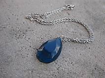 Náhrdelníky - Živicová  slza farebná (Modrá kryštálová kvapka - náhrdelník, č1503) - 6562780_