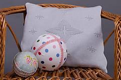 Textil - Pletený vankúšik do kočíka a postieľky - vzor Star - sivý - 6567040_