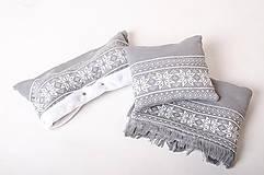 Textil - Pletený vankúšik do kočíka a postieľky - nórsky vzor - sivý - 6567129_