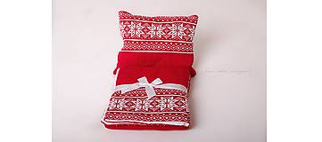 Textil - Pletený vankúšik do kočíka a postieľky - nórsky vzor - červený - 6567576_