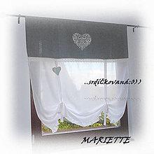 Úžitkový textil - Lněná ....srdíčkovaná záclonka...š.110xd.125cm - 6566770_