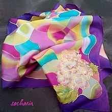 Šály - Hodvábny maľovaný šál farebný abstrakt s hortenziou - 6568242_
