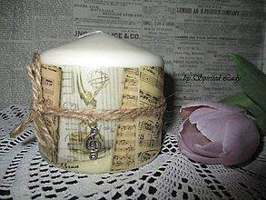 Svietidlá a sviečky - Sviečka Vintage Noty - 6566348_