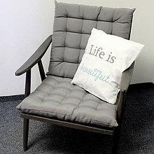 Nábytok - Sivé retro kreslo - predané - 6567807_