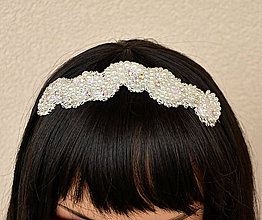 Ozdoby do vlasov - Svadobná čelenka biela, vyšívaná - 6567846_