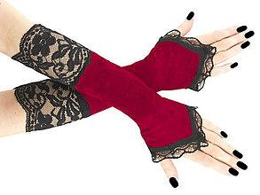 Rukavice - Dámské červené rukavice s čipkou1210 - 6572009_