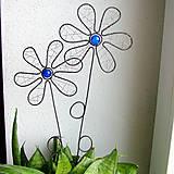Dekorácie - zápich kvet modrý - 6570500_