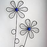 Dekorácie - zápich kvet modrý - 6570501_