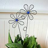 Dekorácie - zápich kvet modrý - 6570503_