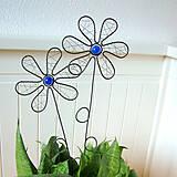 Dekorácie - zápich kvet modrý - 6570504_