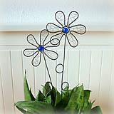 Dekorácie - zápich kvet modrý - 6570505_