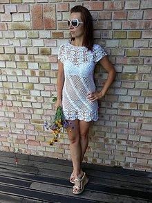 Šaty - Háčkované biele mini šatky - 6570023_