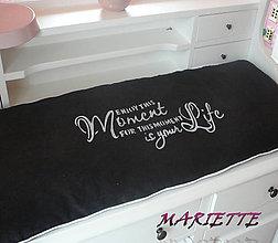 Úžitkový textil - Lněný povlak na lavici....černobílá 100x38cm - 6570714_