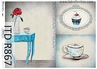 Papier - ryžový papier modrý stôl - 6570907_
