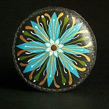 Odznaky/Brošne - Květinová mandalka-brož světlemodrá - 6570514_