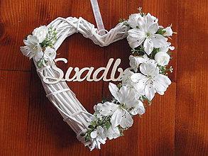 Dekorácie - Biele srdce s nápisom SVADBA - 31 cm - 6574036_