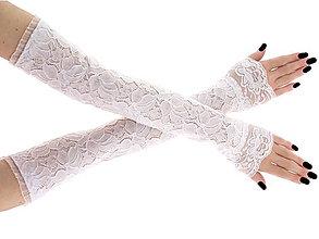 Rukavice - Svadobné čipkové bielé rukavičky 16PL - 6578788_