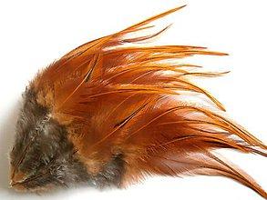 Suroviny - 1-2*33 Oranžové pierka s čiernou špičkou- stredne dlhé- 2ks - 6578967_