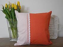 Úžitkový textil - vankúš so širokou krajkou - 6576836_