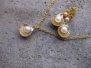 Sady šperkov - Zlatá mušľa s perlou č.449 - 6576995_