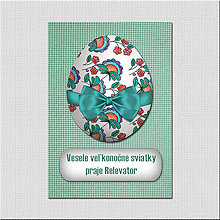 Papiernictvo - Realistic veľkonočná pohľadnica - veľkonočné vajíčko na látke - 6577450_