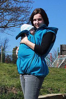 Mikiny - Bavlněná mikina s odep. rukávy pro nošení dětí-petrolejová - 6580194_
