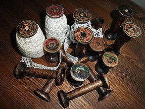 Dekorácie - Vintage dřevěná špulka kulatá velká - 6579829_
