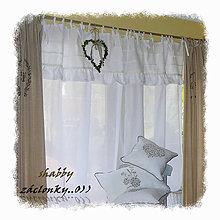Úžitkový textil - Lněná záclonka v shabby stylu...š.150xd.160cm - 6581973_