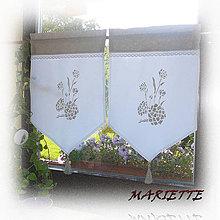 Úžitkový textil - Lněná záclonka..pivoňky za okny 45x60cm - 6582003_