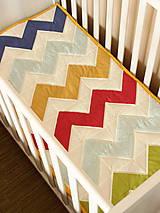 Textil - Farebná chevron patchworková deka - 6582755_