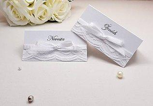 Papiernictvo - Svadobné menovky s čipkou a mašličkou - 6584908_