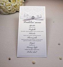 Papiernictvo - Svadobné menu Damask s kamienkom - 6585032_